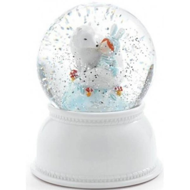Djeco Nachtlampje en sneeuwbol 'lila & pupi'   Djeco