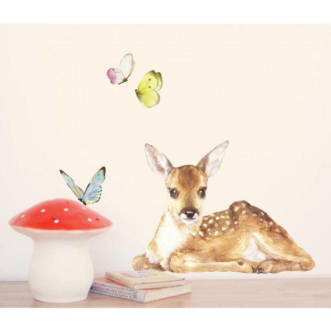 Muursticker bambi met vlinders - Chocovenyl