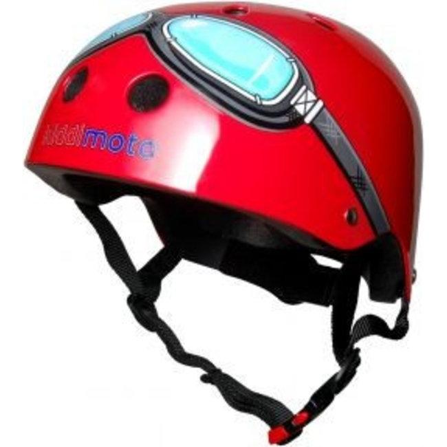Skate- & fietshelm rood met bril   Kiddimoto