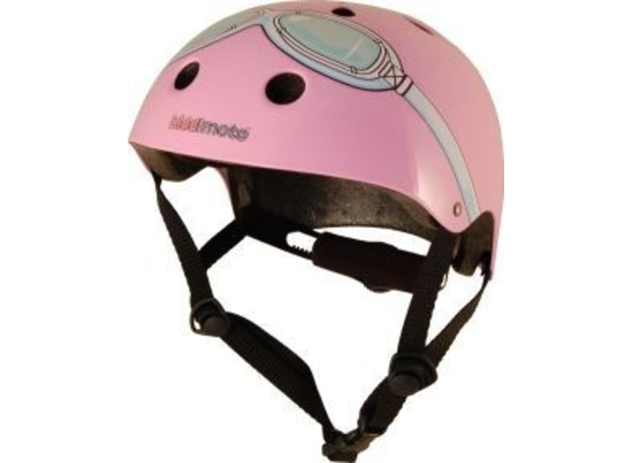 Skate- & fietshelm roze met bril   Kiddimoto
