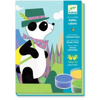 Djeco Knutseldoos Gekleurd Zand Panda   Djeco
