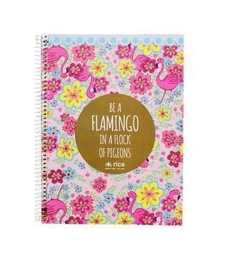 Rice Notitieboek met harde kaft Flamingo   Rice