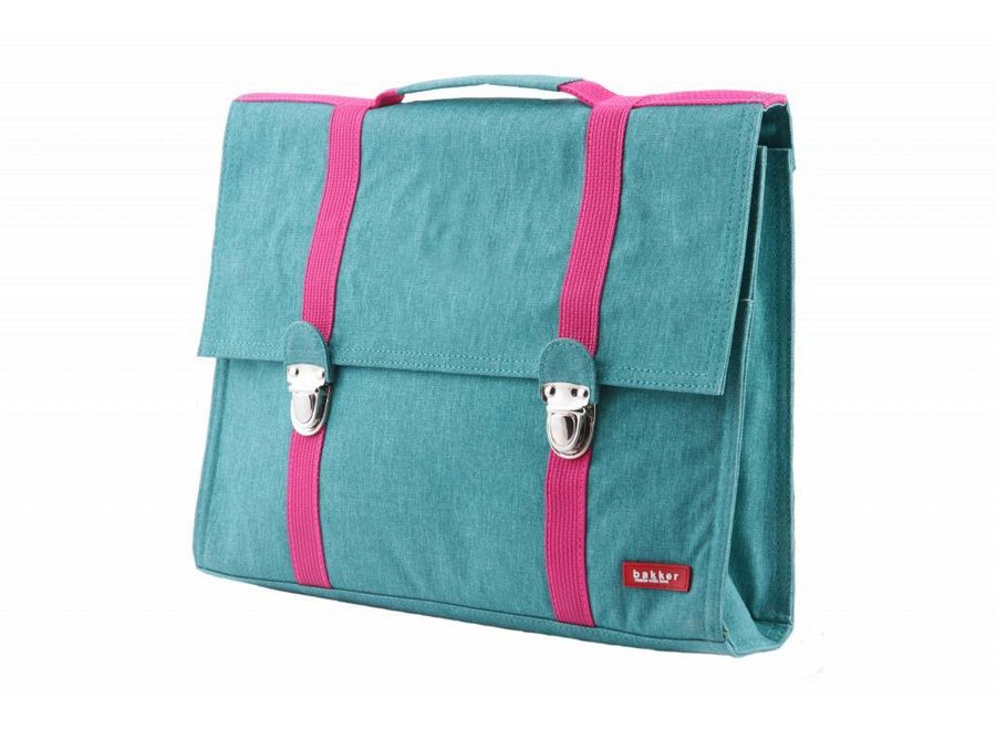 Boekentas / Schooltas Groot Cordura Happy Turquoise | Bakker made with love