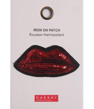 Bakker made with Love Iron On Patch Lips voor op Boekentas / Schooltas Cordura Happy | Bakker made with love