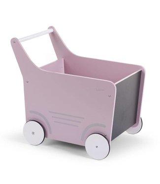 Childhome Houten Loopwagen Roze  |  Childhome