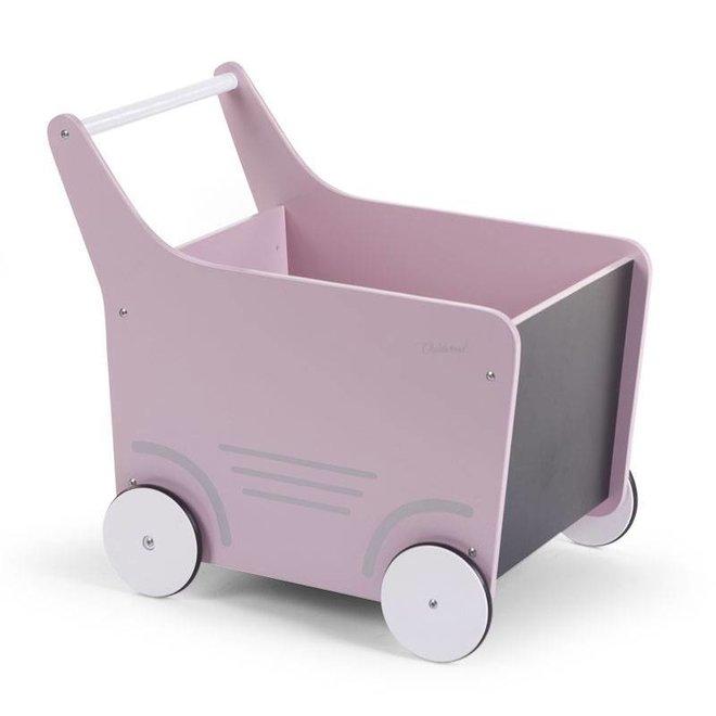Houten Loopwagen Roze  |  Childhome