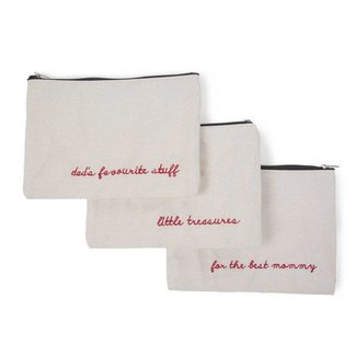 "Childhome Kleine Canvas Tas Set van 3 ""Mommy-Dads-Treasure"" 
