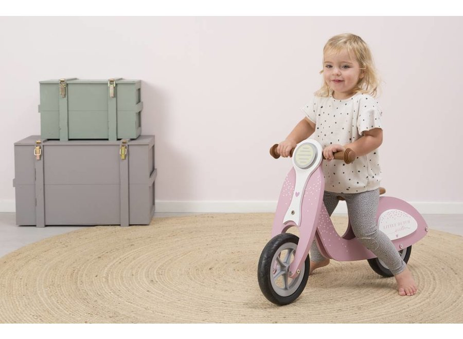 Houten Loopfiets Scooter Pink   Little Dutch