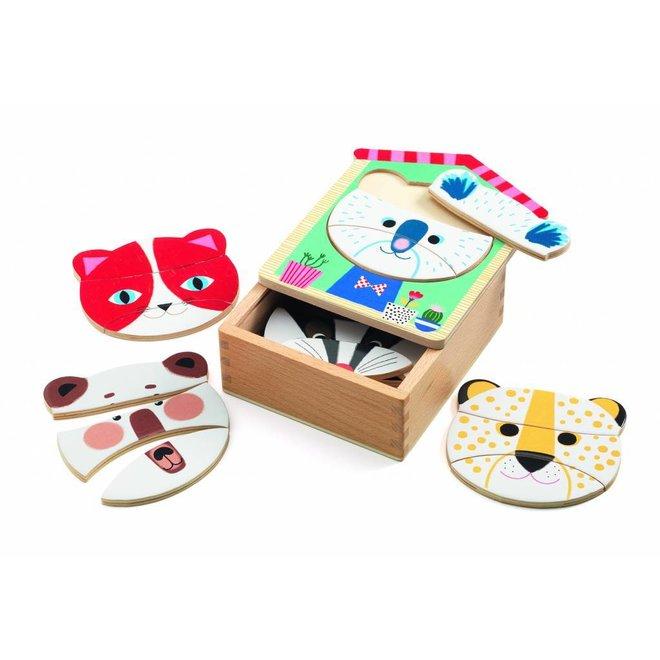 Puzzel Dierenkoppen Face Mix | Djeco