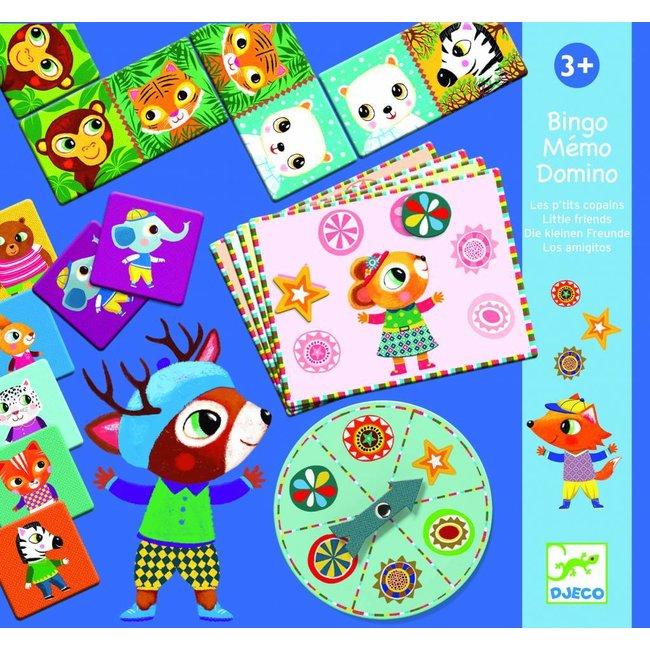 Djeco Trio Spel - Bingo, Mémo en Domino - Kleine Vrienden  |  Djeco