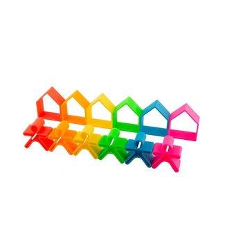 Dena 6 speelhuisjes en -figuurtjes Neon | Dena