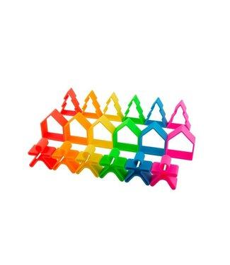 Dena 6 speelhuisjes, -figuurtjes en -boompjes Neon | Dena