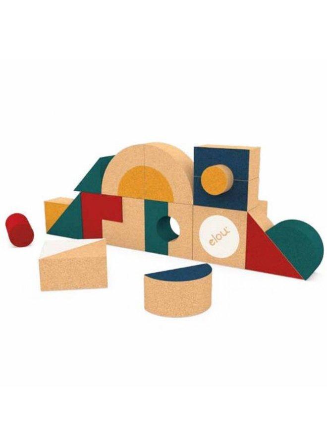 Kurken Blokkenset met vormen - 18stuks