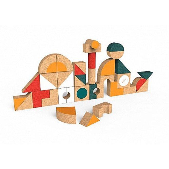 Kurken Blokkenset met vormen - 36stuks