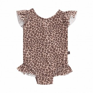 House of Jamie Ruffled Swimsuit – Caramel Leopard