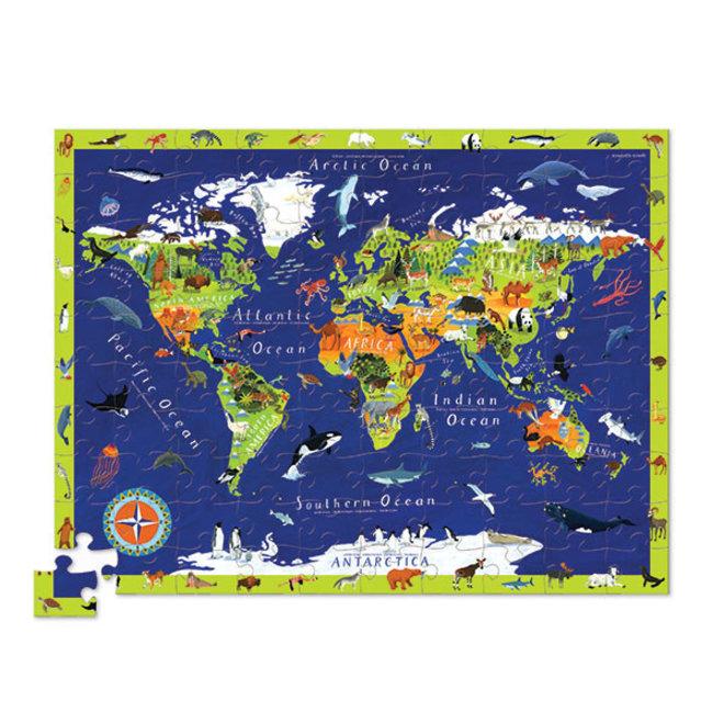 Ontdek de Wereld - Vloerpuzzel 100st + Speelset