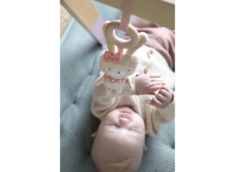 Houten babygym met speeltjes - pink
