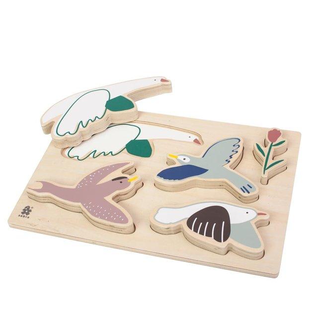 Houten inlegpuzzel Vogels