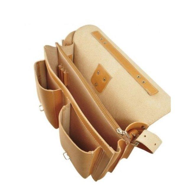 Lederen 2-vaks boekentas/schooltas 38cm Naturel | Ruitertassen