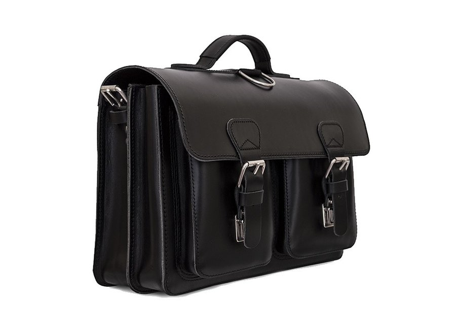 Lederen 2-vaks boekentas/schooltas 38 cm Zwart | Ruitertassen
