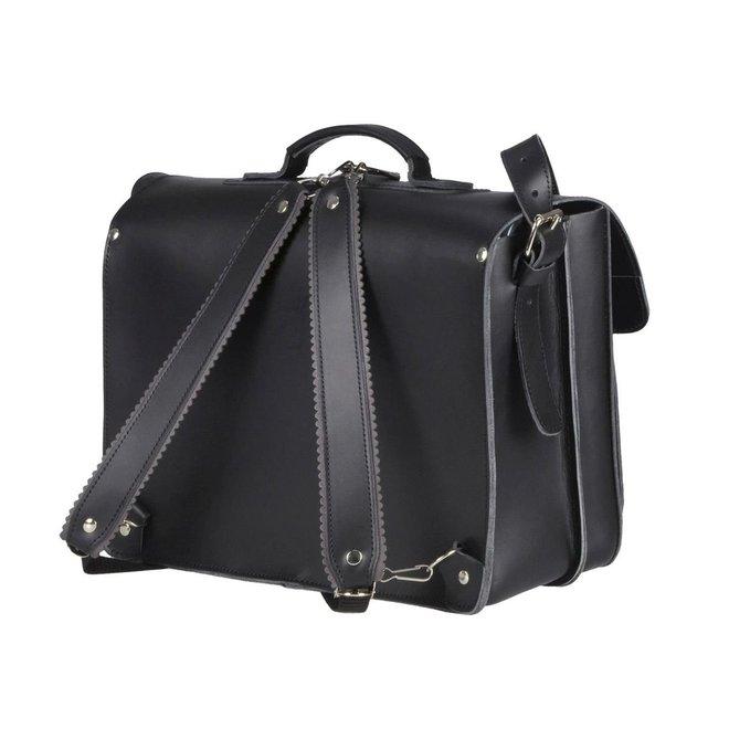 Lederen 2-vaks boekentas/schooltas 40cm Zwart | Ruitertassen