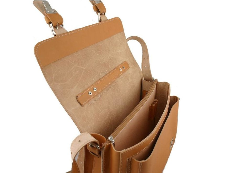 Lederen 2-vaks boekentas met groot voorvak Naturel | Ruitertassen