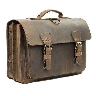 Ruitertassen Lederen 2-vaks boekentas met groot voorvak Ranger | Ruitertassen