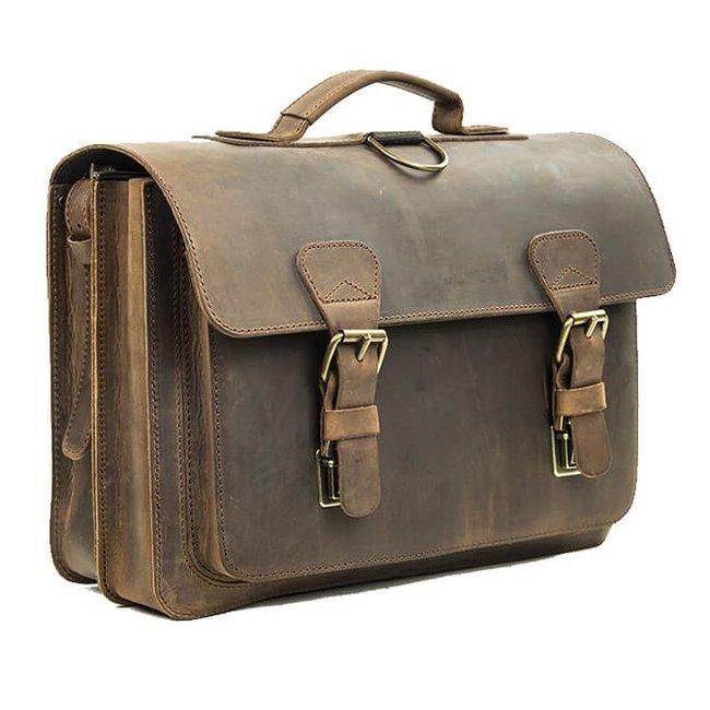Lederen 2-vaks boekentas met groot voorvak Ranger   Ruitertassen