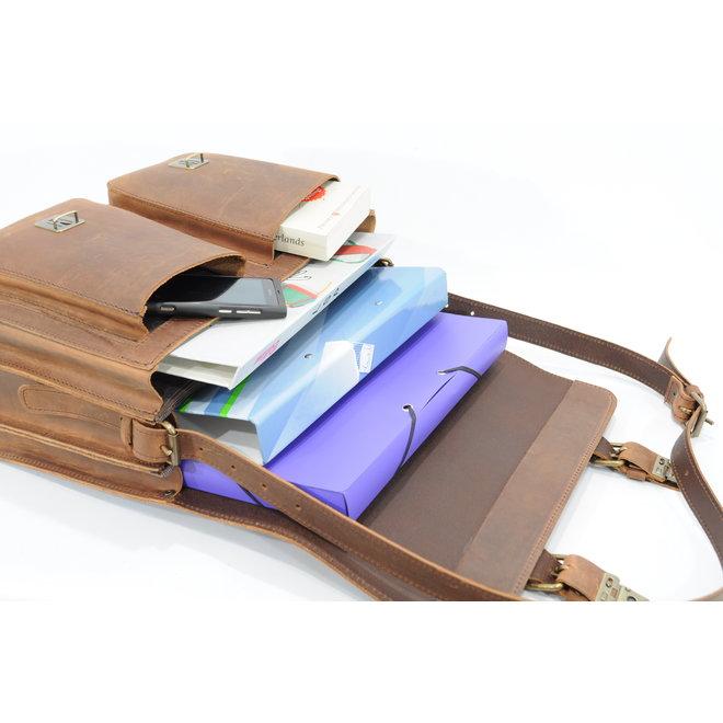 Lederen 2-vaks boekentas/schooltas 40cm Ranger | Ruitertassen