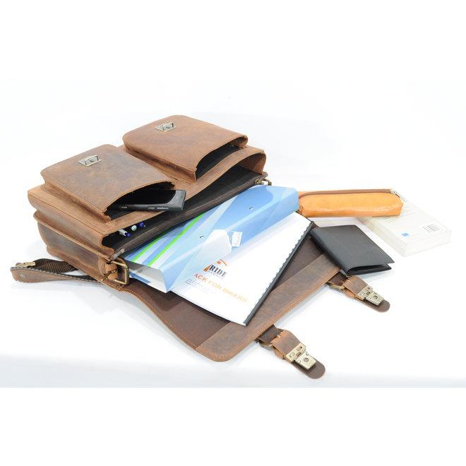 Lederen 2-vaksboekentas boekentas/schooltas 38 cm Ranger | Ruitertassen