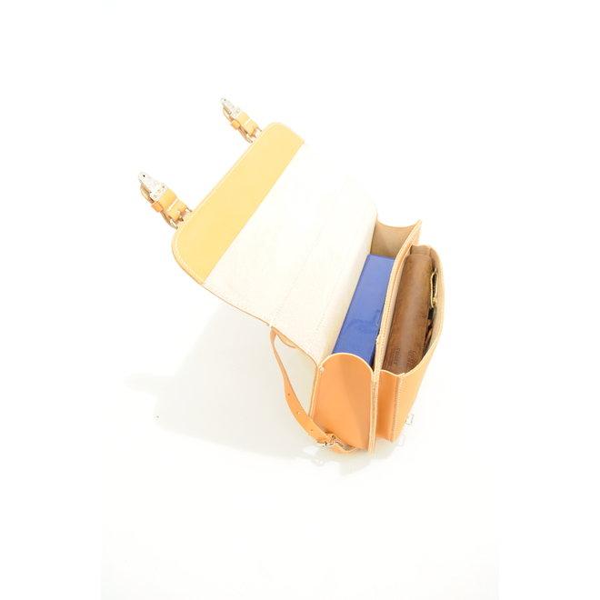 Lederen kleuterboekentasje met voorvak Naturel | Ruitertassen