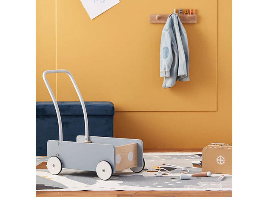 Houten Loopwagen Blauw   Kid's Concept