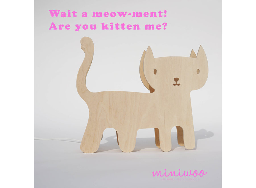Houten Kinderlamp 'Kat'   MiniWoo