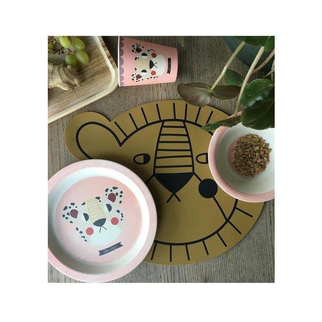 Eetset Bamboo Leopard - Pink | Studio Loco