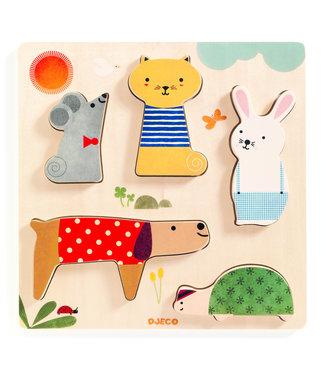 Djeco Houten puzzel Huisdieren (5st) | Djeco