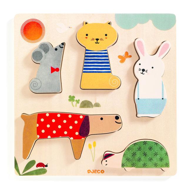 Houten puzzel Huisdieren (5st) | Djeco