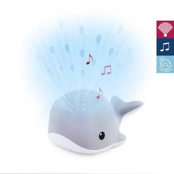 Walvis Lichtprojector met Muziek - Grijs| ZAZU