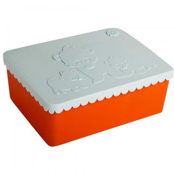 Toffe Lunchbox HDPE Oranje/Lichtblauw