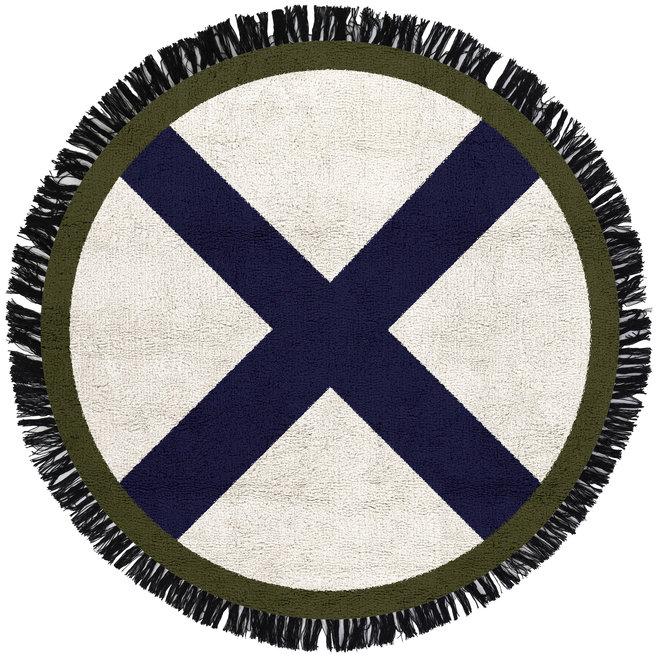 Tapijt Round Cross Blue 100x100cm | Tapis Petit