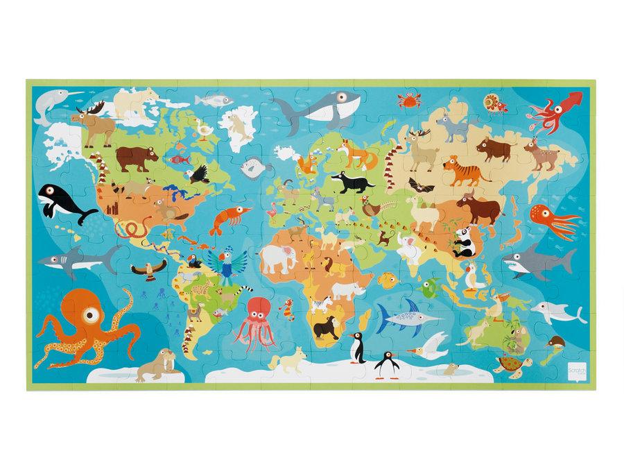 XXL Puzzel Dieren van de Wereld - 100st | Scratch
