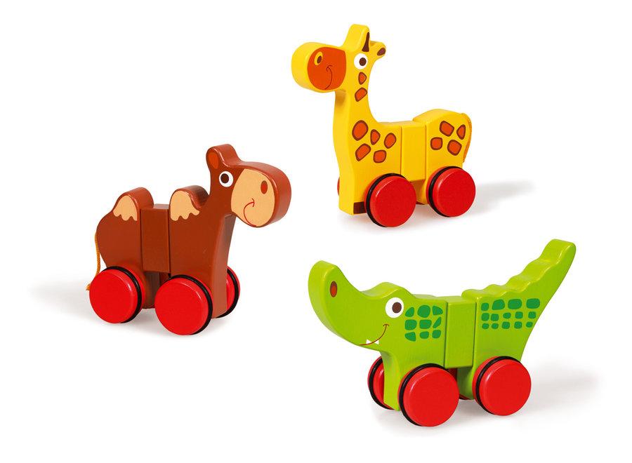 Houten Safaridieren op wielen   Scratch