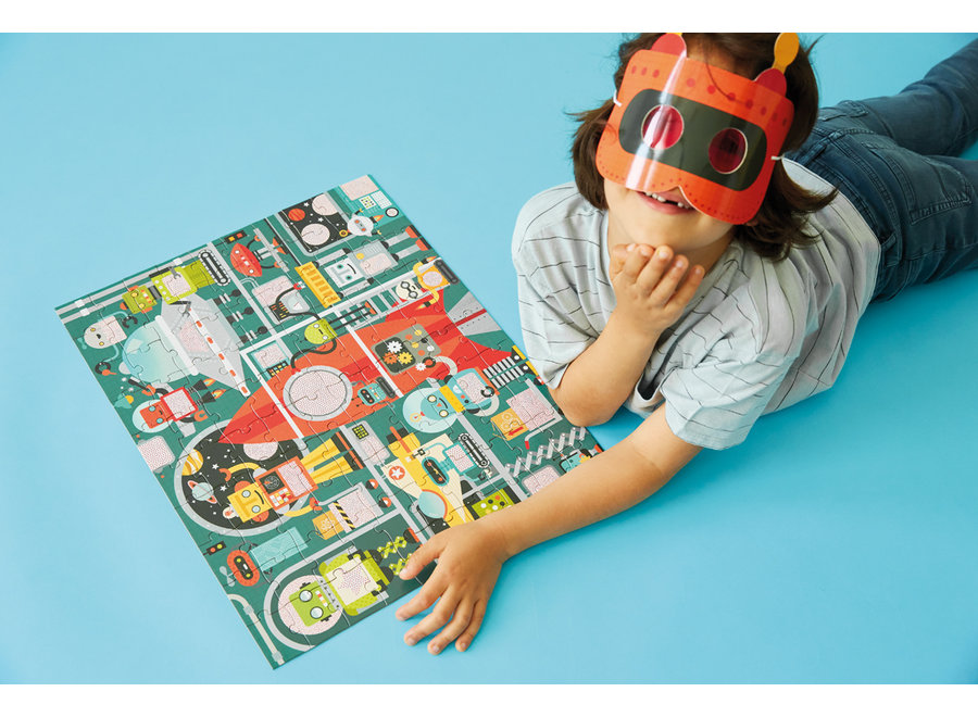 Zoekpuzzel Robotfabriek - 100st | Petit Collage