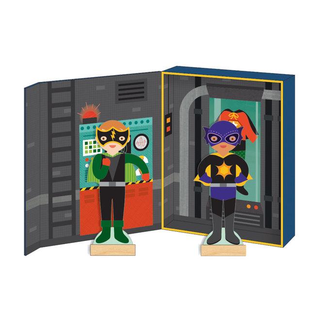 Magneetboek Dressup - Superhelden | Petit Collage