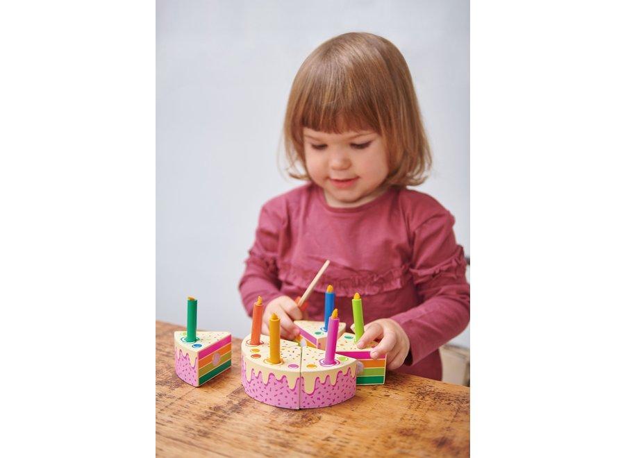 Houten verjaardagscake – regenboog   Tender Leaf Toys