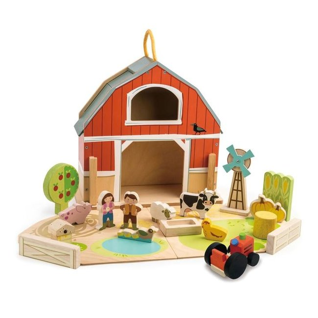 Houten speelset Boerderijschuur   Tender Leaf Toys