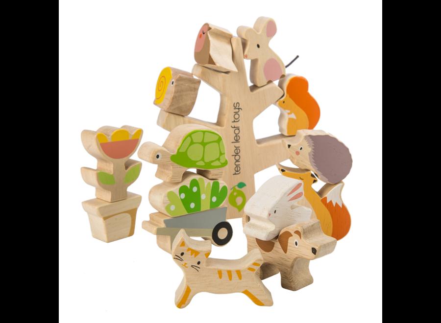 Stapelboom met lieve diertjes   Tender Leaf Toys