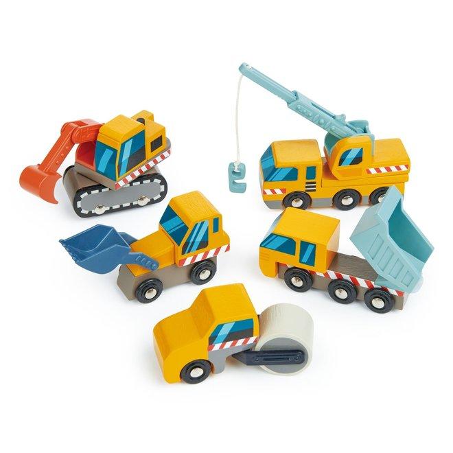 Houten set van 5 werfauto's   Tender Leaf Toys