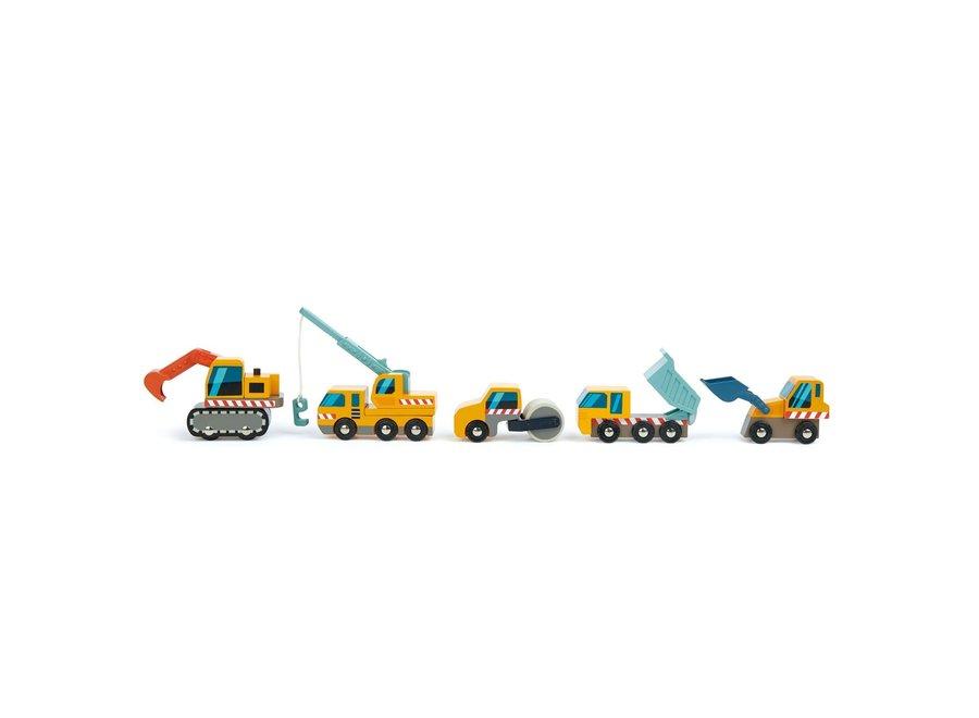Houten set van 5 werfauto's | Tender Leaf Toys