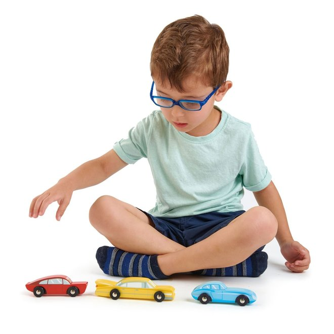 3 Houten retro Auto's | Teander Leaf Toys