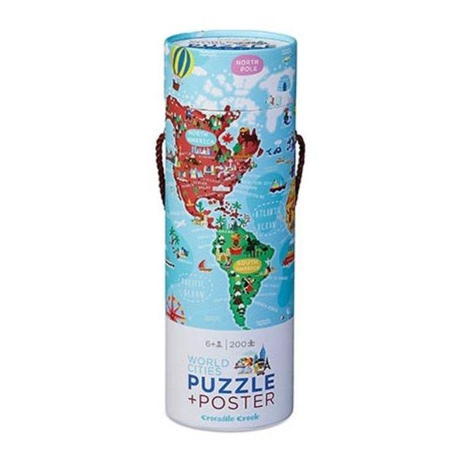 Puzzel & Poster Wereldsteden – 200 stukken | Crocodile Creek